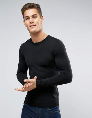 Asos Muscle Fit Cotton Sweater in Black