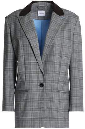 Magda Butrym Leather-Trimmed Prince Of Wales Checked Wool Blazer