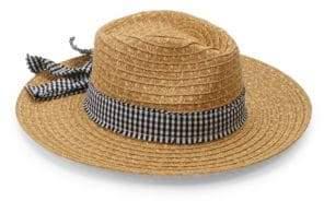 San Diego Hat Company Gingham Ribbon Raffia Fedora