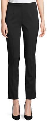 Michael Kors Side-Zip Stretch-Pebble Crepe Narrow-Leg Pants