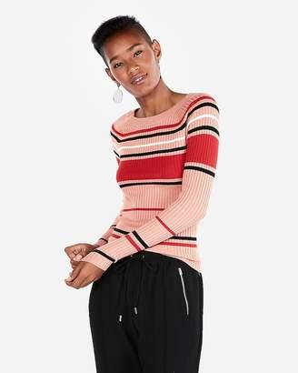 Express Striped Ribbed Bateau Neck Sweater