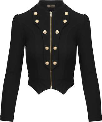 Hybrid Company Women's Military Crop Stretch Gold Zip up Blazer Jacket KJK1125X