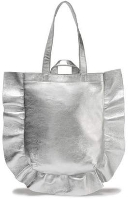 Loeffler Randall Ruffle-Trimmed Metallic Textured-Leather Tote