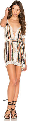 Cleobella Bardot Short Dress With Sash in Brown $169 thestylecure.com