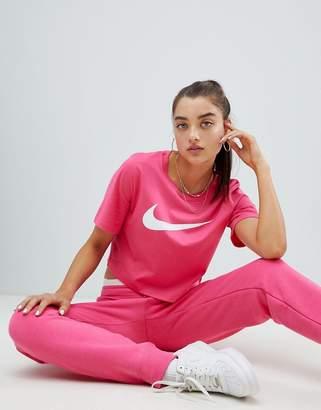 Nike Pink Large Swoosh Logo Crewneck T-Shirt