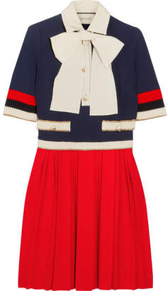 Bow-detailed Ribbed Knit-trimmed Pleated Stretch-crepe Mini Dress - Red