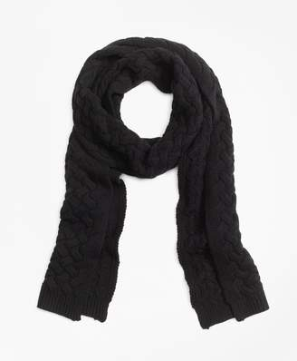 Brooks Brothers Wool Cable Knit Scarf