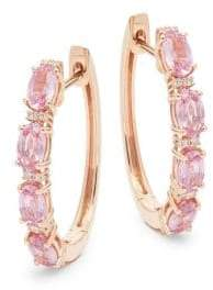 Effy 14K Rose Gold, Pink Sapphire & Diamond Hoop Earrings
