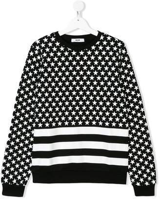 MSGM TEEN stars and stripes sweatshirt