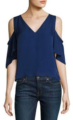 Ramy Brook Judy Crepe Cold-Shoulder Top, Navy $285 thestylecure.com