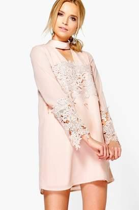 boohoo Choker Lace Flute Sleeve Shift Dress