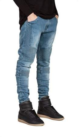 Yellowradio Trendy Designed Straight Pants Casual Men Jeans Slim Elastic Denim Trousers Blue Size30