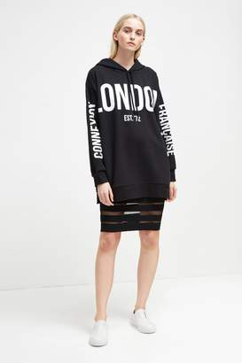 French Connenction Graphic Sweat Jersey Hooded Sweatshirt