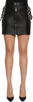 DSQUARED2 Western Buckles Leather Mini Skirt