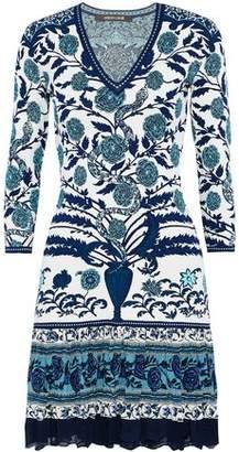 Roberto Cavalli Crochet-Trimmed Printed Silk-Paneled Jacquard-Knit Mini Dress