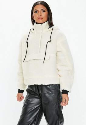Missguided White Cropped Overhead Borg Jacket