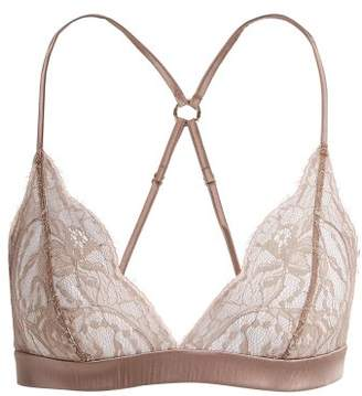Fleur of England Lace Trimmed Soft Cup Triangle Bra - Womens - Light Brown