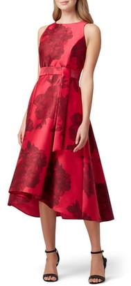 Tahari Floral Mikado Midi Dress