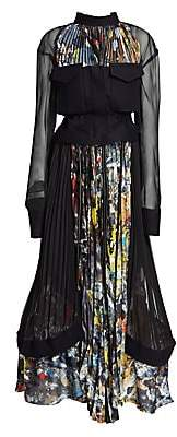Sacai Women's Pollock-Print Bustier Maxi Dress