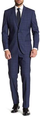 Kenneth Cole New York Windowpane Two Button Notch Lapel Wool Suit