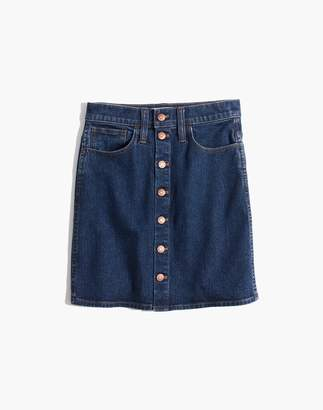 Madewell Button-Front Straight Jean Skirt in Arroyo Wash
