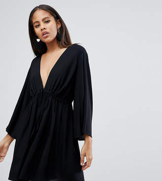 Asos Tall DESIGN Tall smock romper with tie waist