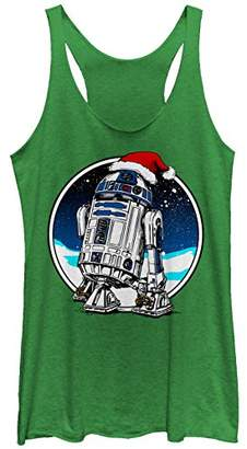 Fifth Sun Star Wars Women's Christmas R2-D2 Santa Hat Racerback Tank Top
