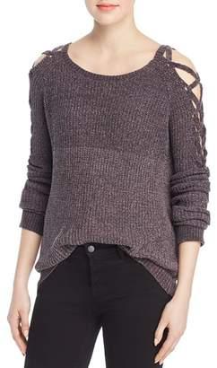 Elan International Chenille Lace-Up-Sleeve Sweater