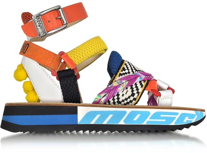 Moschino Moschino Techno Multicolor Fabric & Leather Platform Sandal w/Pompon