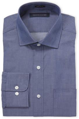 Tommy Hilfiger Chambray Herringbone Slim Fit Dress Shirt