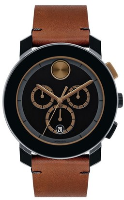 Movado 'Bold' Chronograph Leather Strap Watch, 44Mm $595 thestylecure.com