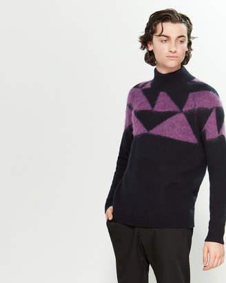 Roberto Collina Turtleneck Geometric Long Sleeve Sweater