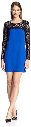 Society New York Women's Long Sleeve Lace Yoke Dress
