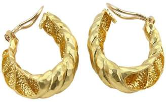Henry Dunay 18K Yellow Gold Hammered Shell Oval Hoop Clip On Earrings