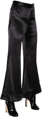 Ellery Revolver Flared Textured Silk Pants