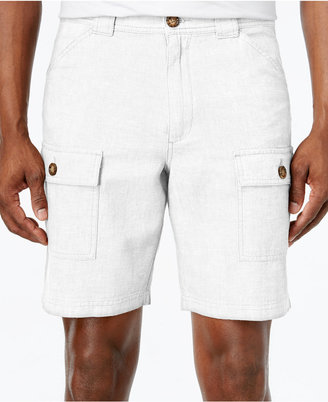 Tasso Elba Men's Linen-Blend Cargo Shorts, Only at Macy's $55 thestylecure.com
