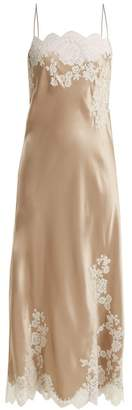 Carine Gilson Lace Trimmed Silk Satin Cami Dress - Womens - Beige White