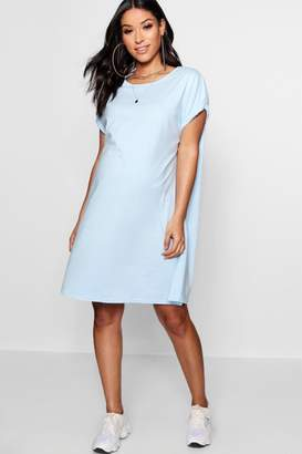 boohoo Maternity Oversized Roll Up T Shirt Dress