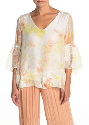 Lola Made In Italy Embroidered V-Neck Bell Sleeve Blouse