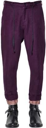 Ann Demeulemeester Linen & Cotton Pants W/ Viscose Hem