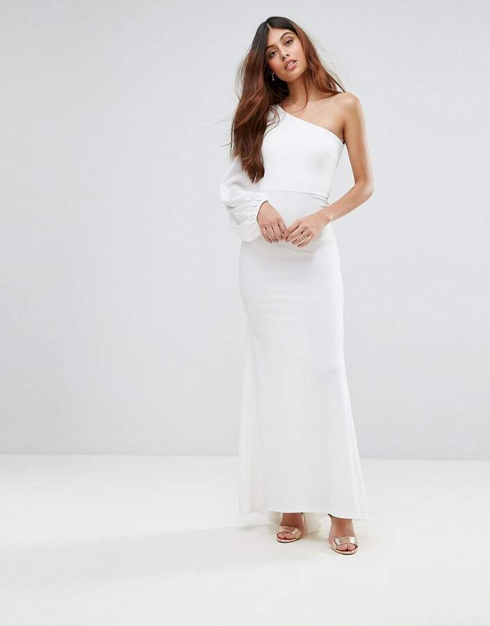 TFNC Off Shoulder Fishtail Maxi Dress With One Shoulder Blouson Sleeve