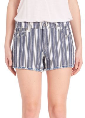 7 For All Mankind Striped Cut-Off Shorts $149 thestylecure.com