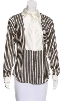 Thomas Pink Silk Button-Up Top