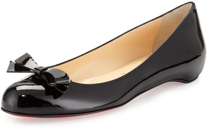 Christian Louboutin Simplenodo Red-Sole Bow Flat, Black