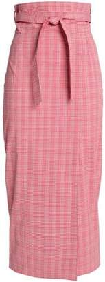 Stella Jean Belted Checked Cotton-Blend Midi Skirt