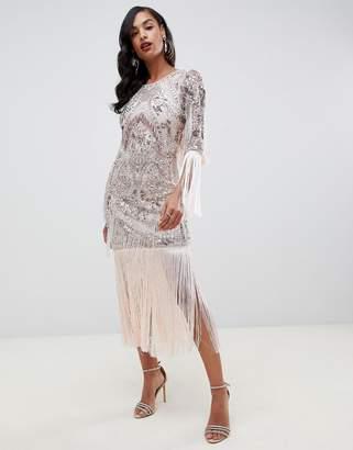 91abb102e2 Asos Edition EDITION statement bead   fringe midi dress