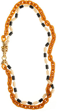Double-strand resin link giraffe necklace