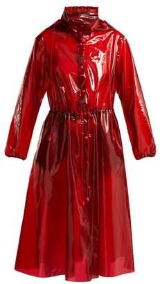 Marine Serre - Logo Print Pvc Trench Coat - Womens - Red