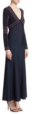 Roberto Cavalli Lurex Jacquard Long Sleeve Gown