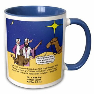 3dRose Matthew 02 01-12 The wise men try to follow the stars with Carl Sagan - Two Tone Blue Mug, 11-ounce